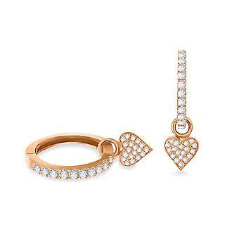 Cercei Hoops Heart 18K Aur și diamante