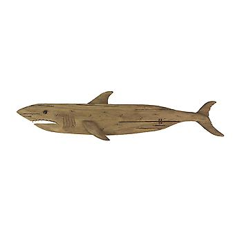 Carved Recycled Wood Great White Shark Wall Sculpture 36 Inches Long