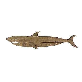 Carvou madeira reciclada Grande Escultura de Parede de Tubarão Branco 36 Polegadas de Comprimento