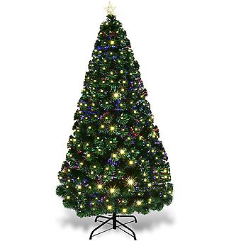 6FT 180CM Fibre Optic Colour Changing Green Christmas Tree Xmas W/ LED Lights
