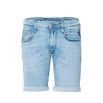 Replay Anbass Hyperflex Blue Denim Shorts