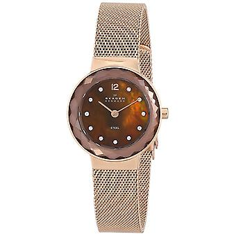 Skagen 456SRR1 Ladies Female Rose Gold Stainless Steel 25MM Quartz Analog Diamond Watch