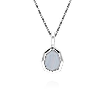 Irregular B Gem Blue Lace Agate Pendant Necklace in 925 Sterling Silver 271P017801925