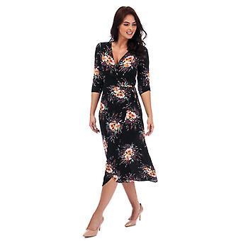 Women's Brave Soul Floral Wrap Midi Dress in Black