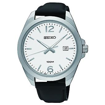 Seiko Watches Sur213p1 Silver, White Dial & Black Leather Men's Watch