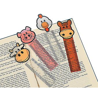 12 Farm Animal Vinyl Ruler Bookmarks for Party Bags