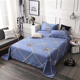 Soft Breathable Plaid Flowers Pattern Flat Anti-stain Bed Sheet