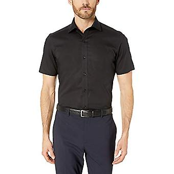 "BUTTONED DOWN Men's Tailored Fit Stretch Spread-Collar Short-Sleeve Non-Iron Shirt, Black, 18.5"" Neck"
