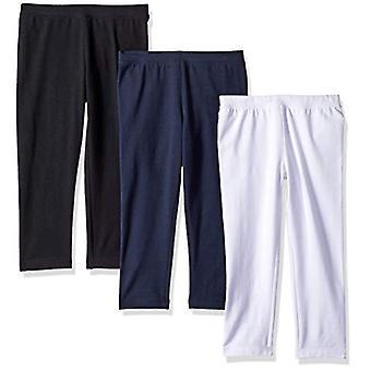 Essentials Big Girls' 3-Pack Capri Legging, Navy Blazer/Black Beauty/B...