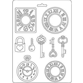 Stamperia Soft Mould A5 Uhren und Schlüssel