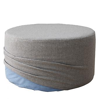Rebecca Furniture Pouf Footrest Round Low Padded Fabric Grey 25x45x45