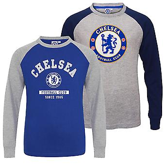 Chelsea FC Officiel Football Gift Kids Crest Long Sleeve Raglan T-Shirt