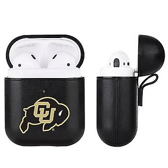Colorado Buffaloes NCAA Fan Brander Zwart Lederen AirPod Case