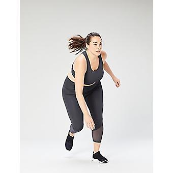 Brand - Core 10 Women's Plus Size Longline Pocket Sports Bra, Dark Gre...