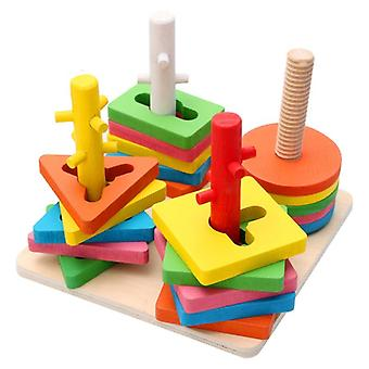 Diy Wooden Building Blocks, Geometric Shape, Pairing Board Model-set