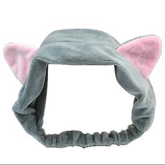 Cute Fashion Soft Flannel Cat Ear Style Headband Gray