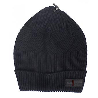 883 Police Threated Ribbed Cotton Black Beanie Hat