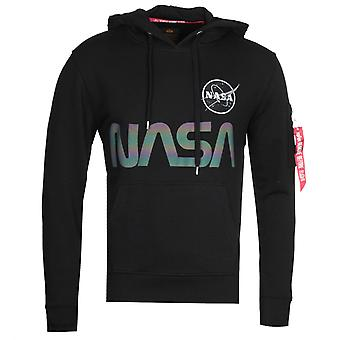 Alpha Industries NASA Rainbow Reflective Black Hooded Sweatshirt