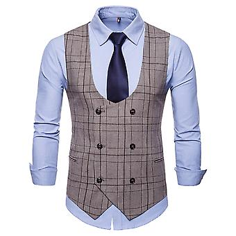 YANGFAN Mens Check Suit Vest Double Breasted U Neck Waistcoat
