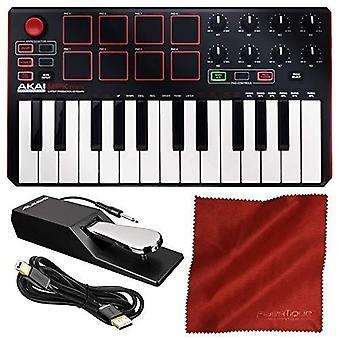 Akai professional mpk mini mkii 25-key ultra-portable usb midi drum pad & keyboard controller (black on white) with pro audio c