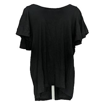 DG2 par Diane Gilman Women-apos;s Plus Top Black Tunique Cotton 718-519