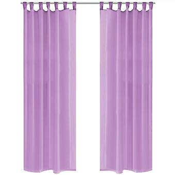 Curtains from Voile 2 pcs. with loops 140 x 245 cm Purple