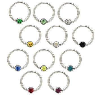 Captive Perle Ring Nippel ring chirurgischen Stahl mit cz Juwel - 12 Farben