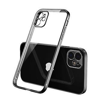 PUGB iPhone 12 Pro Case Luxe Frame Bumper - Kotelon kansi Silikoni TPU Iskuneston musta