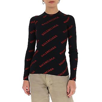 Balenciaga 570844t61401074 Damen's Schwarz/rot Nylon Pullover