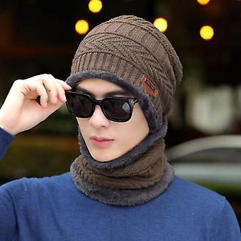 Winter Beanie Hat, Knitted Winter Cap, Women Thick Wool Neck Scarf Cap,