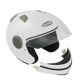GSB G-246 Adult Full Face Modular Motorcycle Helmet Plain White Gloss S-XL