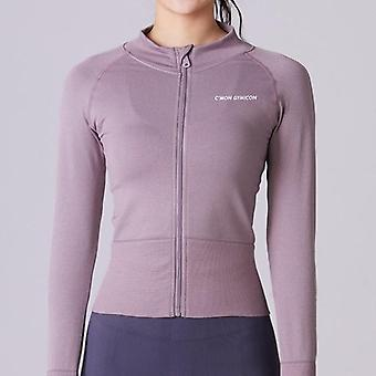Women Running Jacket, Zipper, Long Sleeve Seamless Tops