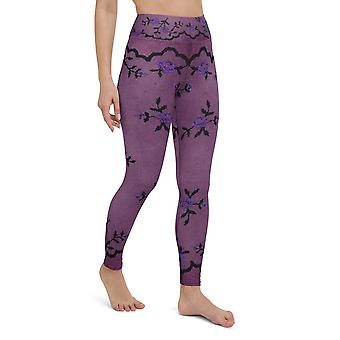 High Waist Purple Floral Lace Printed Leggings