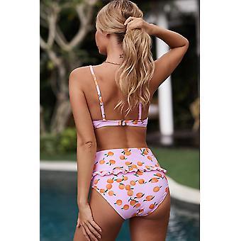 Fruit Print Ruffled Detail High Waist Swimwear