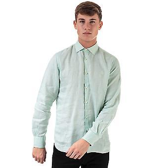 Men's Henri Lloyd Linen Long Sleeve Regular Fit Shirt in Green