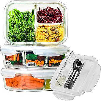 Home Planet Glass Meal Prep Containers 3 Compartment with Cutlery Set | Glass Lunchbox