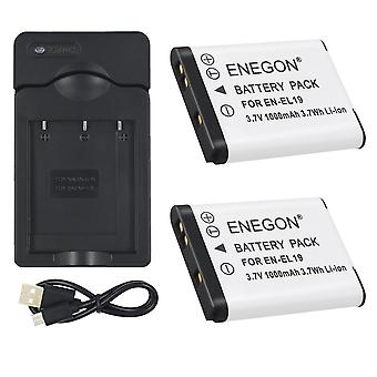 Enegon 2 pack replacement battery and charger for nikon en-el19 and nikon coolpix s32 s33 s100 s2800