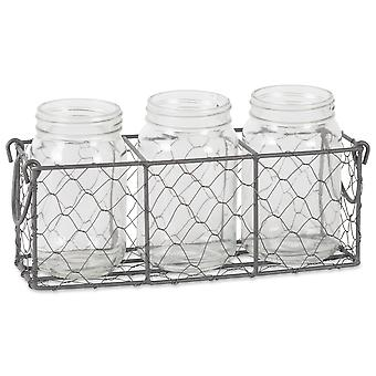 Dii Vintage Grey Chickenwire Flatware Caddy Avec pots clairs