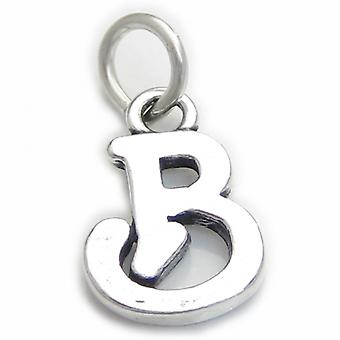Script Letter B Initial Sterling Silver Charm .925 X 1 Letters Charms - 4254