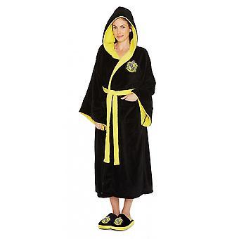 Hufflepuff Χάρι Πότερ Κυρίες Μαύρο Fleece Ρόμπα με κουκούλα