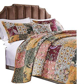 Kamet 4 Piece Fabric Twin Size Quilt Set avec imprimés floraux, multicolore