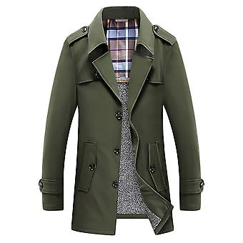 Men's Double Breasted Plus Velvet Lapel Trench Windbreaker Coat