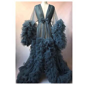 Frauen Bademantel schiere Nachthemd Robe