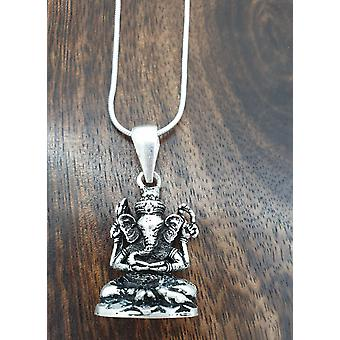 Sterling Silver Ganesha Pendant - With Silver Plated Chain