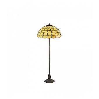 Lámpara De Pie Tiffany Breeze 2 Bombillas Beige 19 Cm