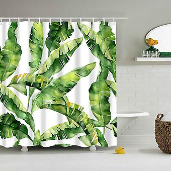 Green Plant Leaf Palm Cactus Shower Bathroom Curtain