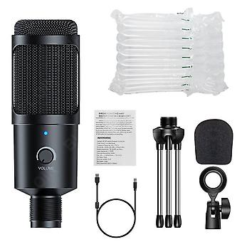 Metal Usb Condenser Recording Microphone Gaming For Laptop Windows Cardioid