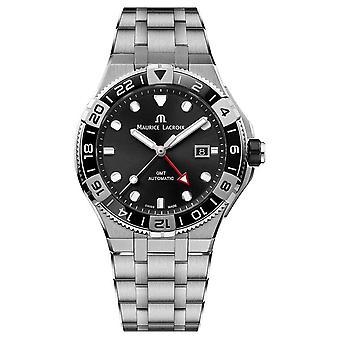 Maurice Lacroix Aikon Venturer GMT | Roestvrijstalen armband | Zwart wijzerplaat AI6158-SS002-330-1 horloge