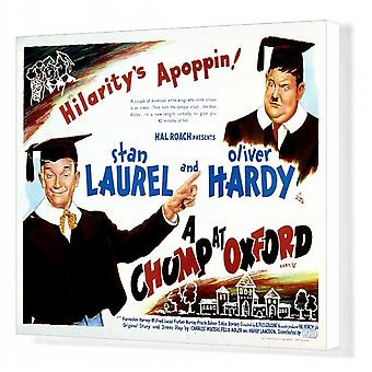 Juliste Alfred Gouldings A Chumpille Oxfordissa (1939). Ruutupohjan tulostus. Hal Roach <br>Stan Laurel.