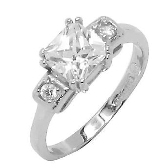 Asscher Cut Prong Set Engagement Two Round Side Stones Ring